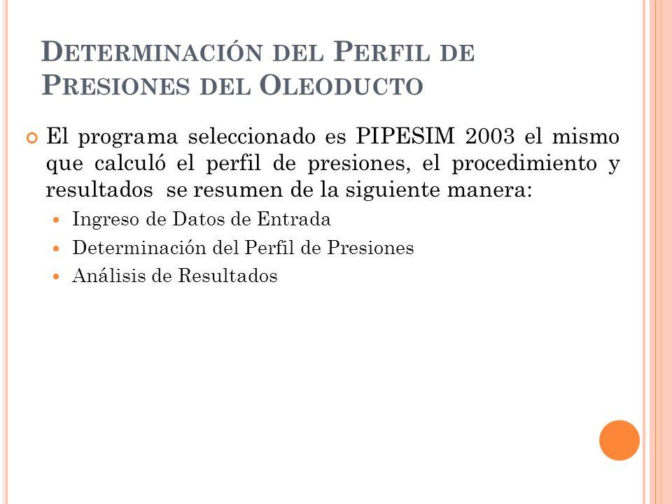 D ETERMINACIÓN DEL P ERFIL DE P RESIONES DEL O LEODUCTO El programa seleccionado es PIPESIM 2003 el mismo que calculó el perfil de presiones, el procedimiento y resultados se resumen de la siguiente manera: Ingreso de Datos de Entrada Determinación del Perfil de Presiones Análisis de Resultados