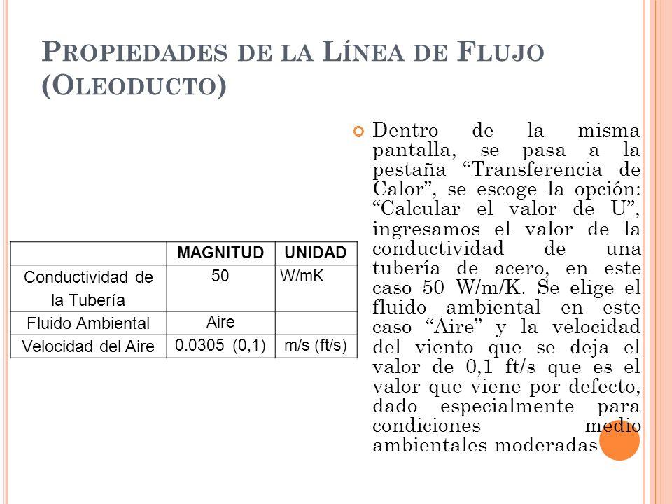 Dentro de la misma pantalla, se pasa a la pestaña Transferencia de Calor, se escoge la opción: Calcular el valor de U, ingresamos el valor de la conductividad de una tubería de acero, en este caso 50 W/m/K.