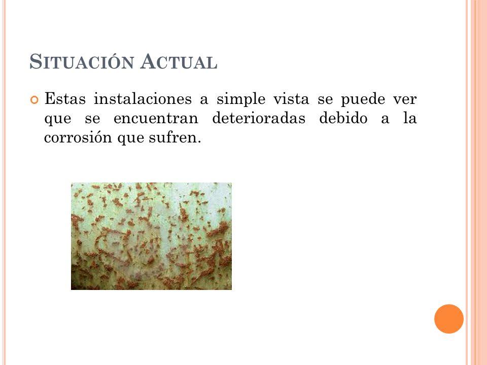 S ITUACIÓN A CTUAL Estas instalaciones a simple vista se puede ver que se encuentran deterioradas debido a la corrosión que sufren.