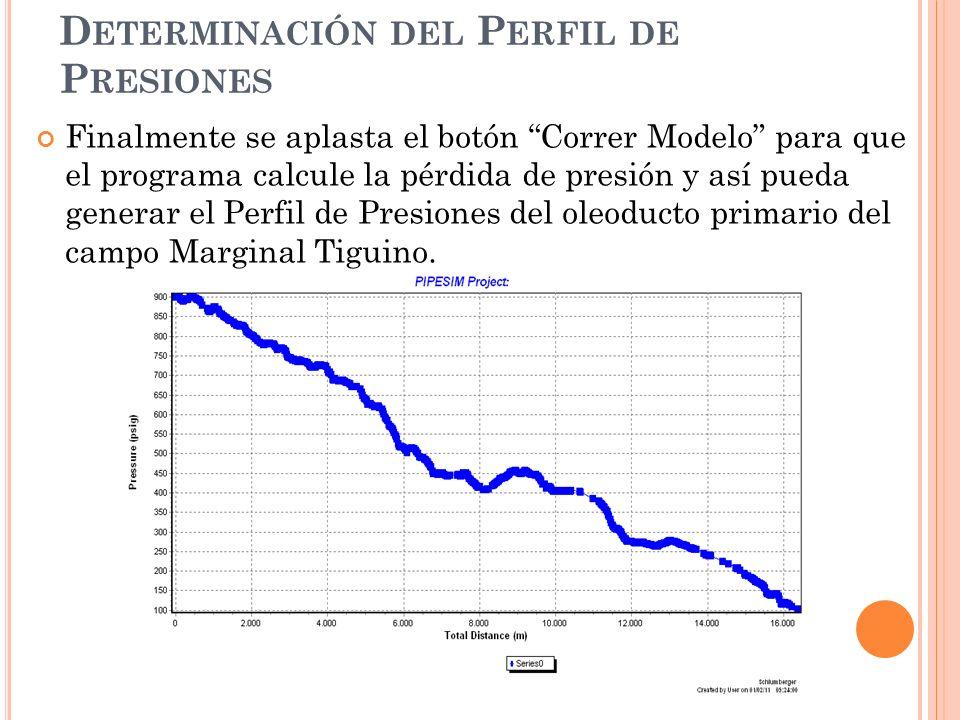 Finalmente se aplasta el botón Correr Modelo para que el programa calcule la pérdida de presión y así pueda generar el Perfil de Presiones del oleoducto primario del campo Marginal Tiguino.