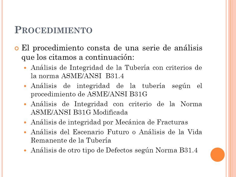P ROCEDIMIENTO El procedimiento consta de una serie de análisis que los citamos a continuación: Análisis de Integridad de la Tubería con criterios de la norma ASME/ANSI B31.4 Análisis de integridad de la tubería según el procedimiento de ASME/ANSI B31G Análisis de Integridad con criterio de la Norma ASME/ANSI B31G Modificada Análisis de integridad por Mecánica de Fracturas Análisis del Escenario Futuro o Análisis de la Vida Remanente de la Tubería Análisis de otro tipo de Defectos según Norma B31.4
