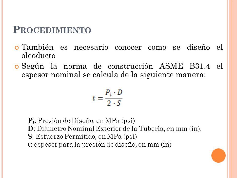 P ROCEDIMIENTO También es necesario conocer como se diseño el oleoducto Según la norma de construcción ASME B31.4 el espesor nominal se calcula de la siguiente manera: P i : Presión de Diseño, en MPa (psi) D : Diámetro Nominal Exterior de la Tubería, en mm (in).