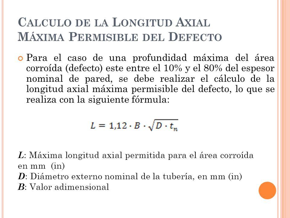 C ALCULO DE LA L ONGITUD A XIAL M ÁXIMA P ERMISIBLE DEL D EFECTO Para el caso de una profundidad máxima del área corroída (defecto) este entre el 10% y el 80% del espesor nominal de pared, se debe realizar el cálculo de la longitud axial máxima permisible del defecto, lo que se realiza con la siguiente fórmula: L : Máxima longitud axial permitida para el área corroída en mm (in) D : Diámetro externo nominal de la tubería, en mm (in) B : Valor adimensional