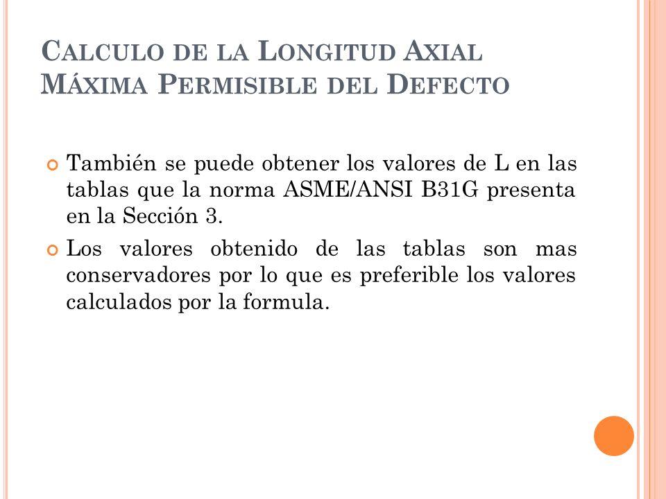 También se puede obtener los valores de L en las tablas que la norma ASME/ANSI B31G presenta en la Sección 3.