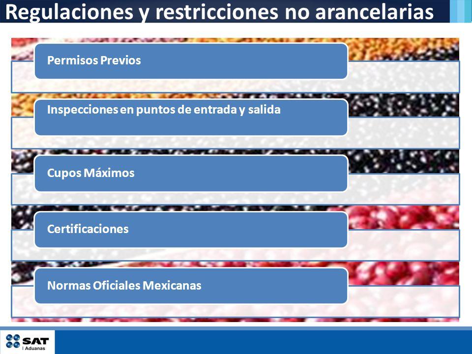 Regulaciones y restricciones no arancelarias Permisos Previos Inspecciones en puntos de entrada y salida Cupos MáximosCertificacionesNormas Oficiales