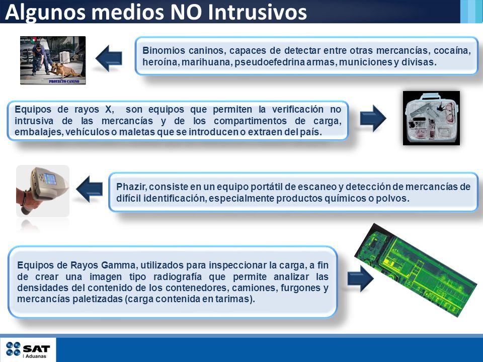 Algunos medios NO Intrusivos Equipos de rayos X, son equipos que permiten la verificación no intrusiva de las mercancías y de los compartimentos de ca