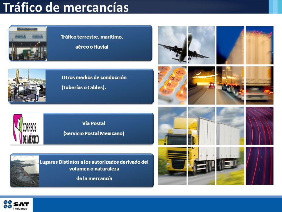 Tráfico de mercancías Vía Postal (Servicio Postal Mexicano) Otros medios de conducción (tuberías o Cables). Tráfico terrestre, marítimo, aéreo o fluvi