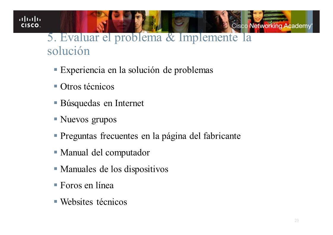 Instituto Tecnológico de Costa Rica Escuela de Ingeniería Electrónica 5. Evaluar el problema & Implemente la solución Experiencia en la solución de pr