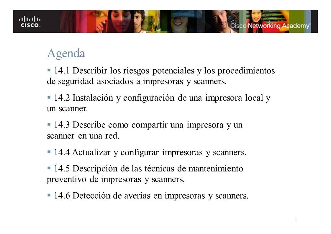 Instituto Tecnológico de Costa Rica Escuela de Ingeniería Electrónica Agenda 14.1 Describir los riesgos potenciales y los procedimientos de seguridad
