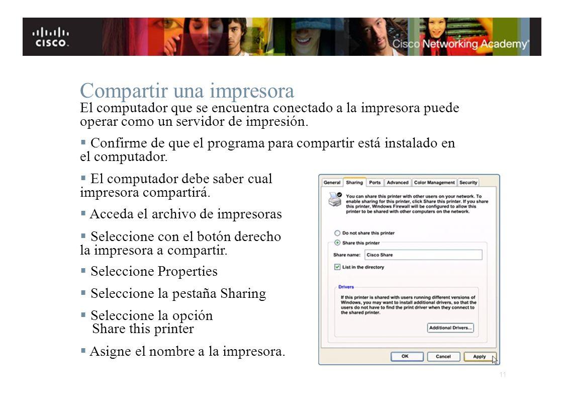 Instituto Tecnológico de Costa Rica Escuela de Ingeniería Electrónica Compartir una impresora El computador que se encuentra conectado a la impresora