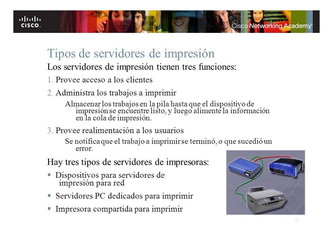 Instituto Tecnológico de Costa Rica Escuela de Ingeniería Electrónica Tipos de servidores de impresión Los servidores de impresión tienen tres funcion