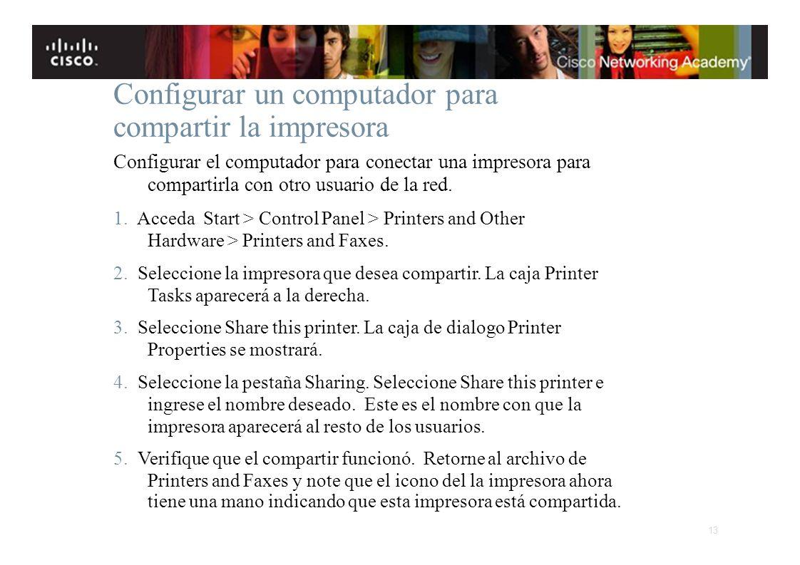 Instituto Tecnológico de Costa Rica Escuela de Ingeniería Electrónica Configurar un computador para compartir la impresora Configurar el computador pa