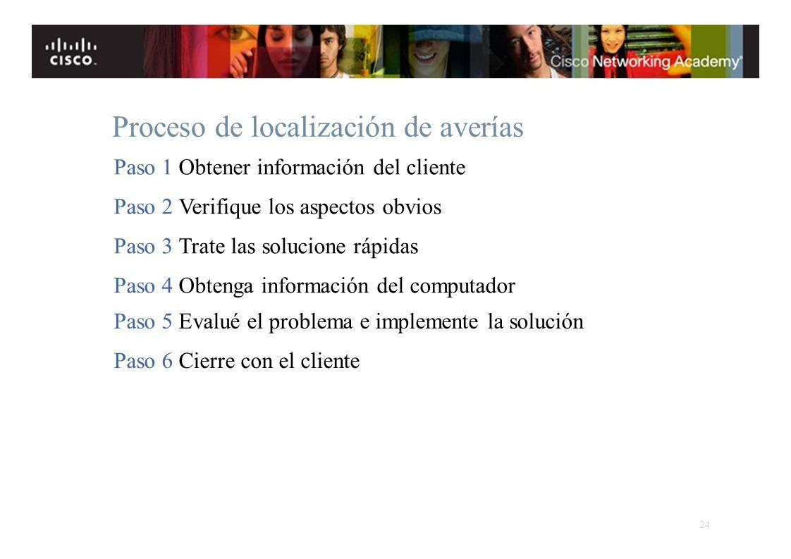 Instituto Tecnológico de Costa Rica Escuela de Ingeniería Electrónica Proceso de localización de averías Paso 1 Obtener información del cliente Paso 2