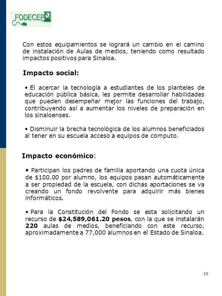 Con estos equipamientos se logrará un cambio en el camino de instalación de Aulas de medios, teniendo como resultado impactos positivos para Sinaloa.