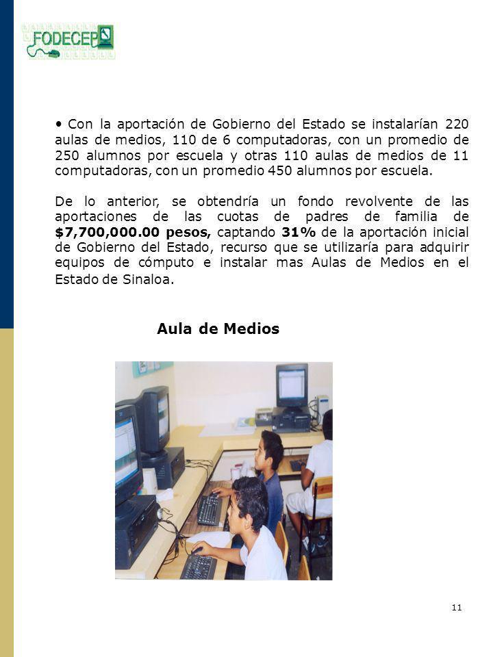 Con la aportación de Gobierno del Estado se instalarían 220 aulas de medios, 110 de 6 computadoras, con un promedio de 250 alumnos por escuela y otras 110 aulas de medios de 11 computadoras, con un promedio 450 alumnos por escuela.