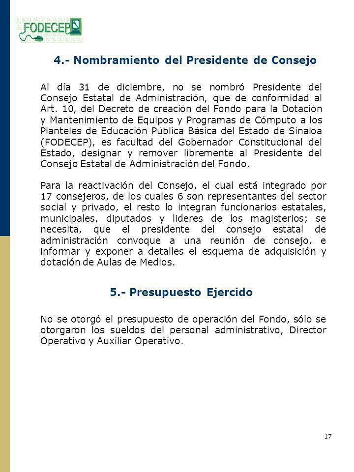 4.- Nombramiento del Presidente de Consejo Al día 31 de diciembre, no se nombró Presidente del Consejo Estatal de Administración, que de conformidad al Art.