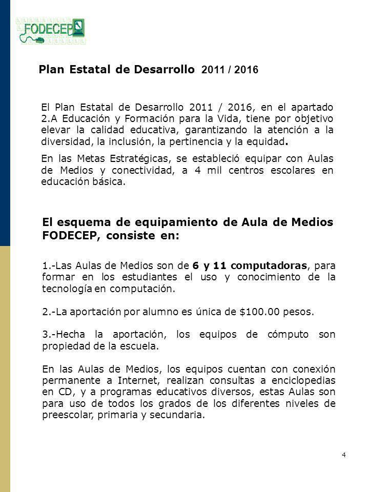 Plan Estatal de Desarrollo 2011 / 2016 El Plan Estatal de Desarrollo 2011 / 2016, en el apartado 2.A Educación y Formación para la Vida, tiene por objetivo elevar la calidad educativa, garantizando la atención a la diversidad, la inclusión, la pertinencia y la equidad.