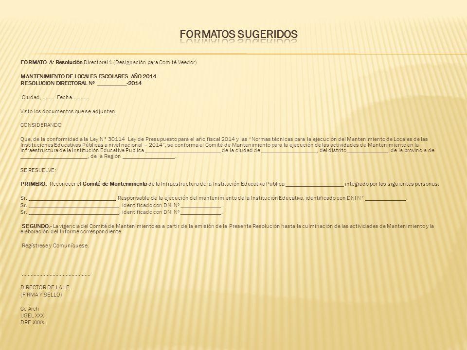 FORMATO B: Resolución Directoral 2 (designación para Comité Veedor) MANTENIMIENTO DE LOCALES ESCOLARES AÑO 2014 RESOLUCION DIRECTORAL Nº __________-2014 Ciudad,……….