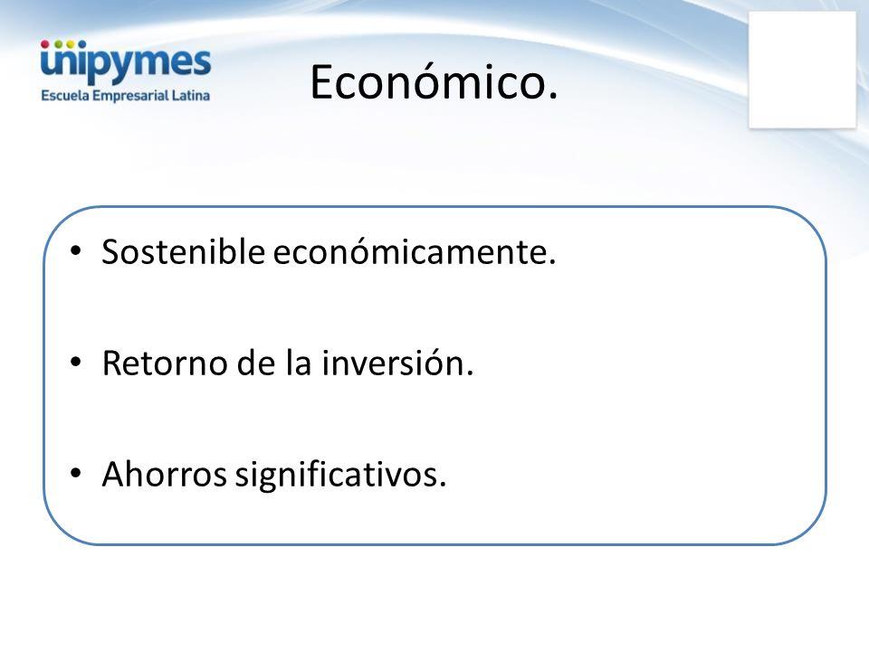 Sostenible económicamente. Retorno de la inversión. Ahorros significativos.