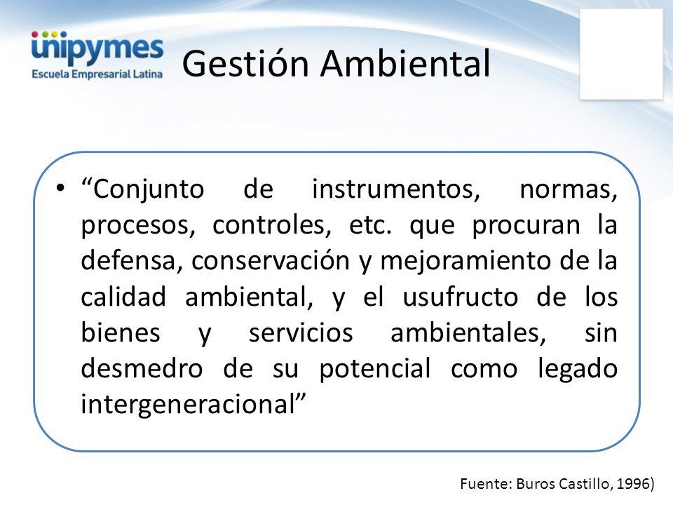 Gestión Ambiental Conjunto de instrumentos, normas, procesos, controles, etc. que procuran la defensa, conservación y mejoramiento de la calidad ambie