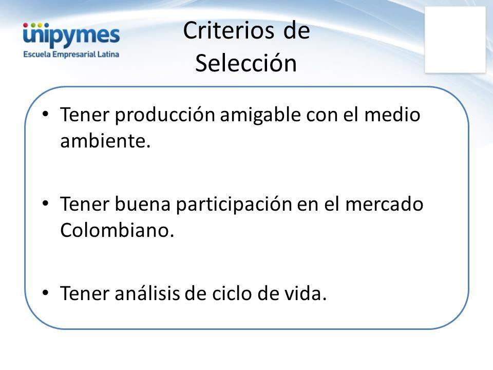 Criterios de Selección Tener producción amigable con el medio ambiente. Tener buena participación en el mercado Colombiano. Tener análisis de ciclo de
