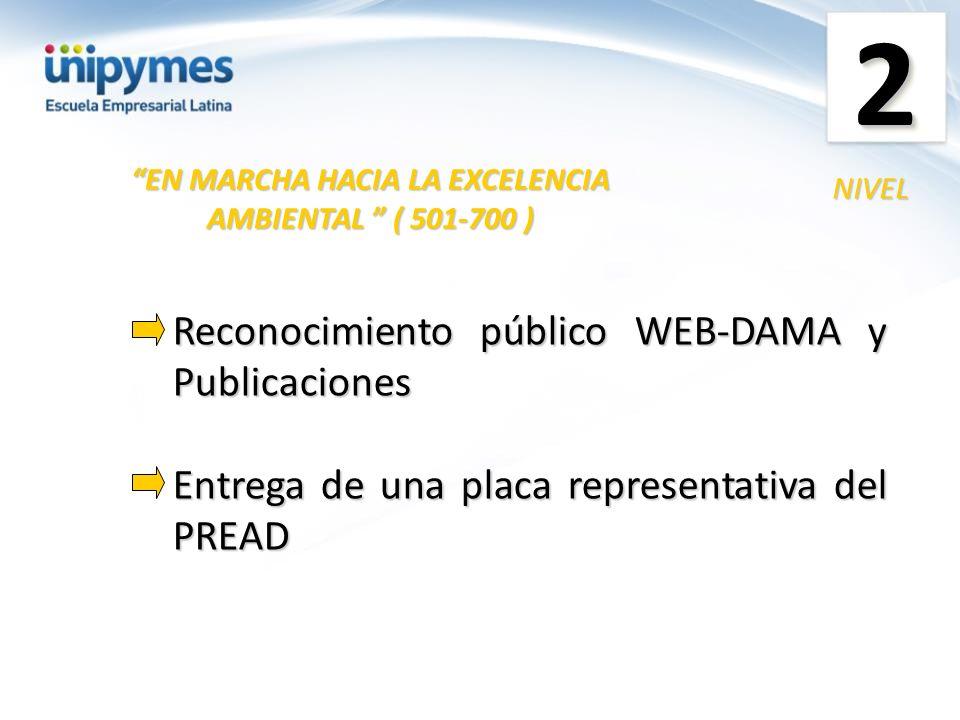 Reconocimiento público WEB-DAMA y Publicaciones Entrega de una placa representativa del PREAD EN MARCHA HACIA LA EXCELENCIA AMBIENTAL ( 501-700 ) NIVE