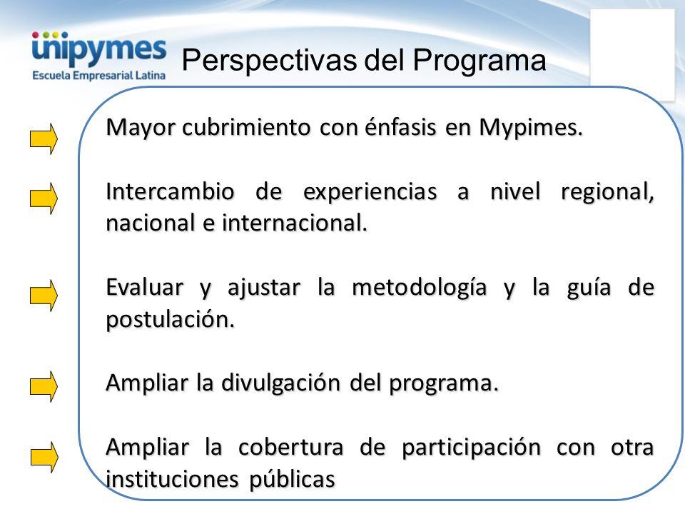 Mayor cubrimiento con énfasis en Mypimes. Intercambio de experiencias a nivel regional, nacional e internacional. Evaluar y ajustar la metodología y l