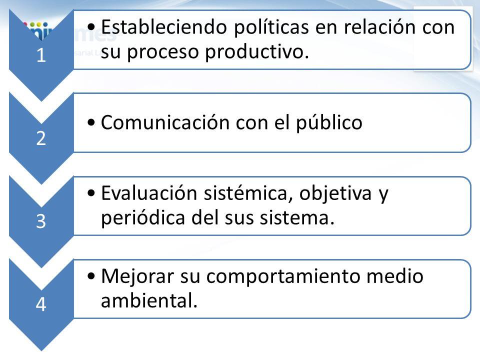 1 Estableciendo políticas en relación con su proceso productivo. 2 Comunicación con el público 3 Evaluación sistémica, objetiva y periódica del sus si
