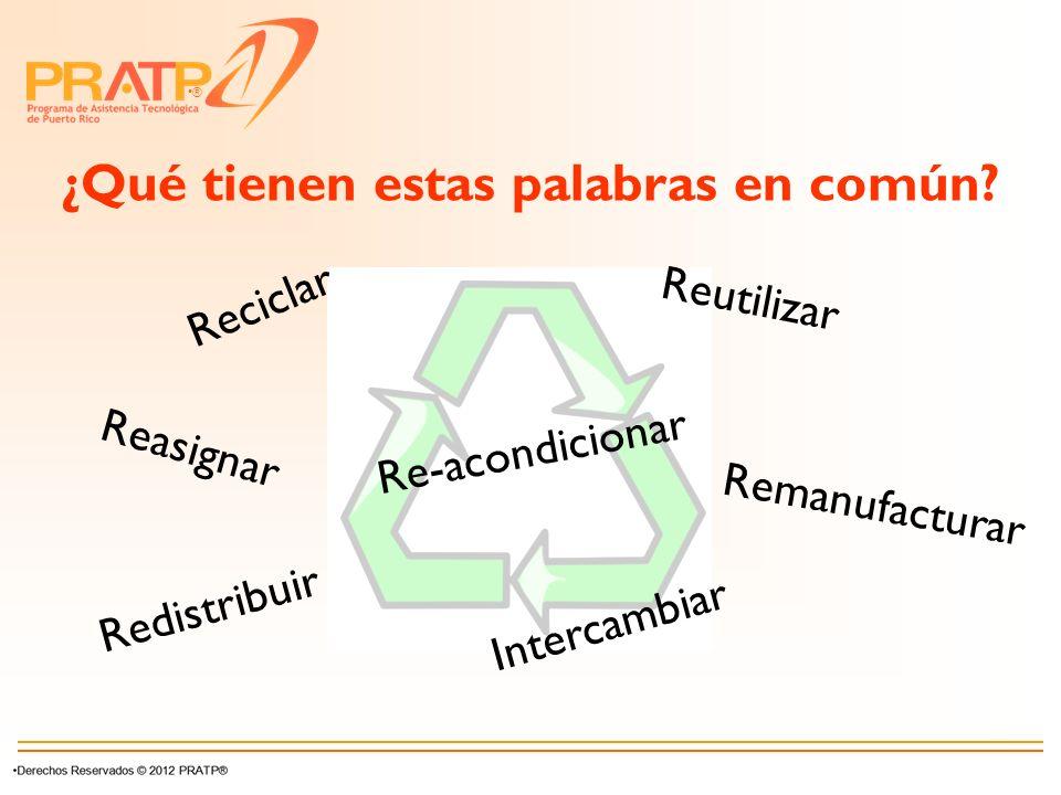 ® ¿Qué tienen estas palabras en común? Reciclar Reutilizar Re-acondicionar Redistribuir Intercambiar Remanufacturar Reasignar