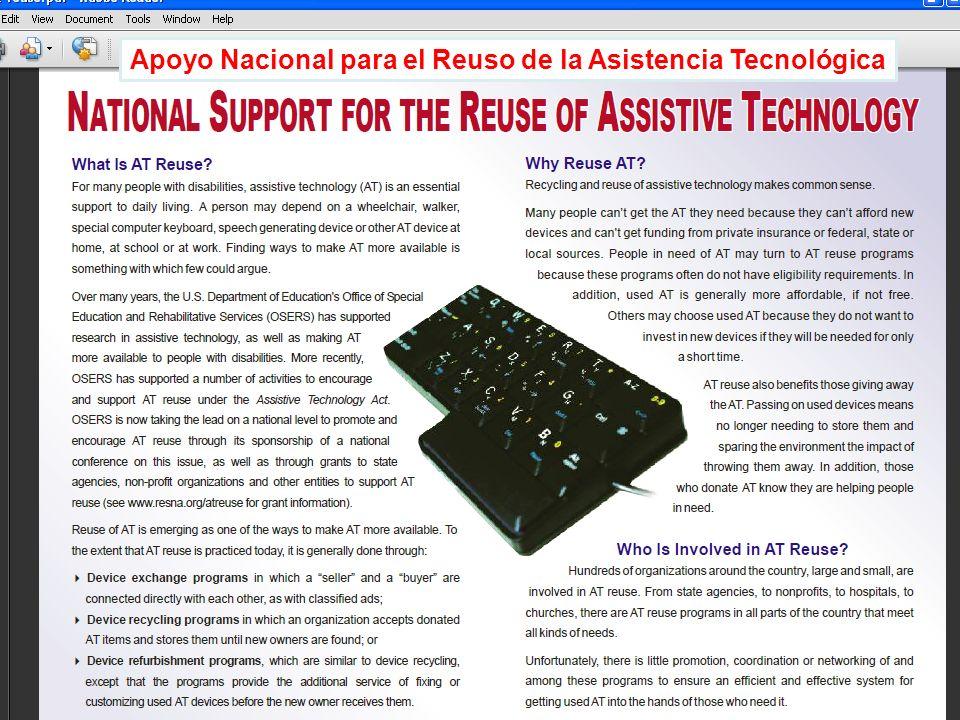 ® XI Conferencia Bienal 2009 Acceso a la AT: Derecho de Todos Derechos Reservados © 2009 PRATP 27 Apoyo Nacional para el Reuso de la Asistencia Tecnol