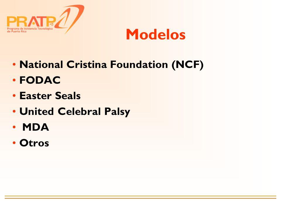 ® Modelos National Cristina Foundation (NCF) FODAC Easter Seals United Celebral Palsy MDA Otros