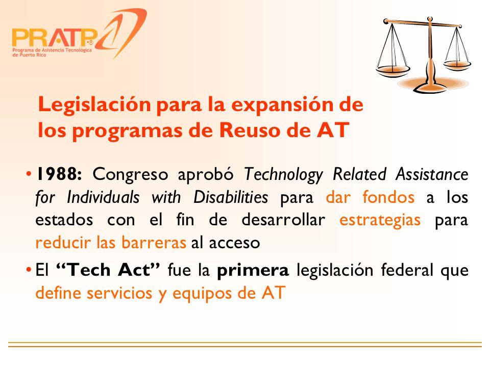 ® Legislación para la expansión de los programas de Reuso de AT 1988: Congreso aprobó Technology Related Assistance for Individuals with Disabilities