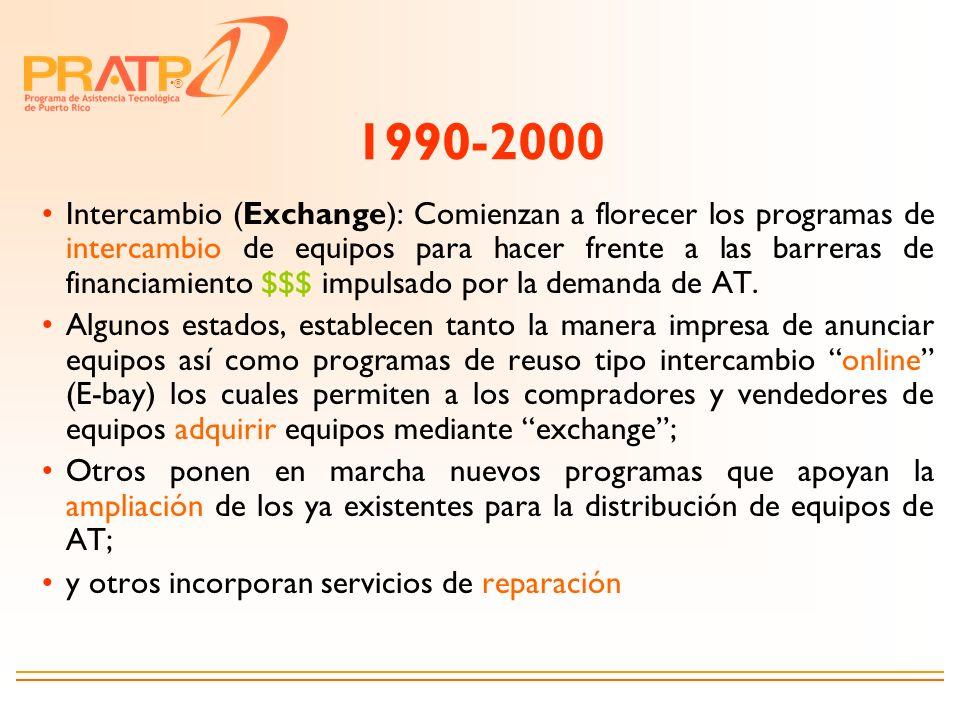® 1990-2000 Intercambio (Exchange): Comienzan a florecer los programas de intercambio de equipos para hacer frente a las barreras de financiamiento $$