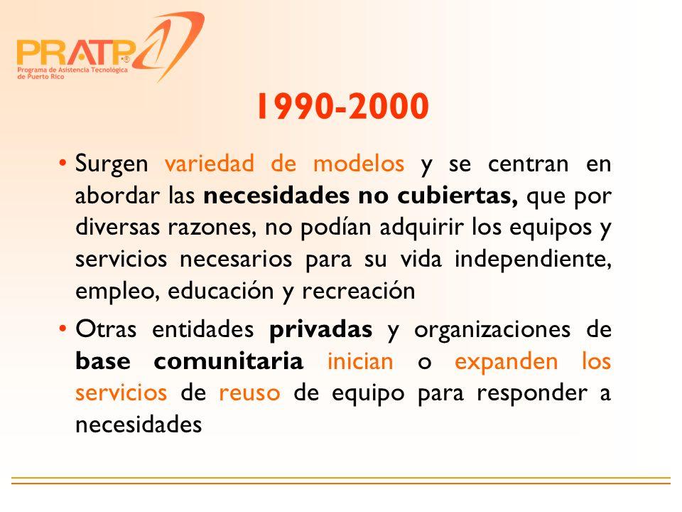 ® 1990-2000 Surgen variedad de modelos y se centran en abordar las necesidades no cubiertas, que por diversas razones, no podían adquirir los equipos