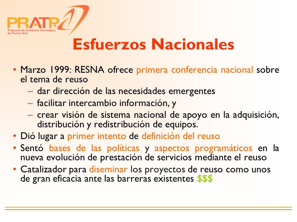 ® Esfuerzos Nacionales Marzo 1999: RESNA ofrece primera conferencia nacional sobre el tema de reuso –dar dirección de las necesidades emergentes –faci