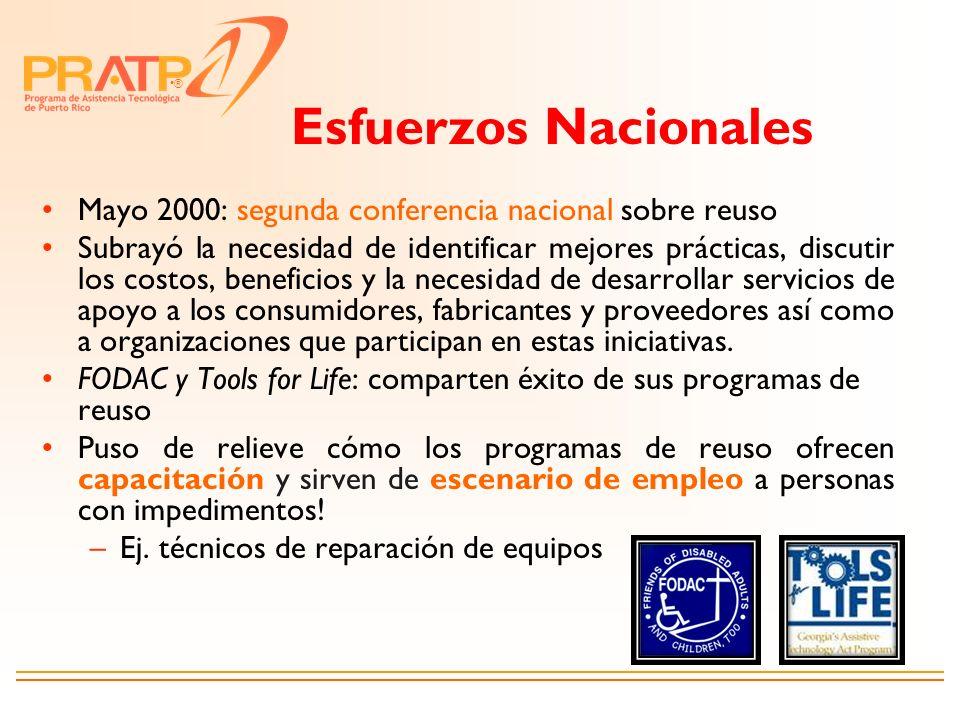 ® Mayo 2000: segunda conferencia nacional sobre reuso Subrayó la necesidad de identificar mejores prácticas, discutir los costos, beneficios y la nece