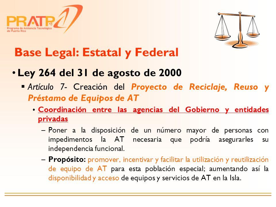 ® Base Legal: Estatal y Federal Ley 264 del 31 de agosto de 2000 Artículo 7- Creación del Proyecto de Reciclaje, Reuso y Préstamo de Equipos de AT Coo
