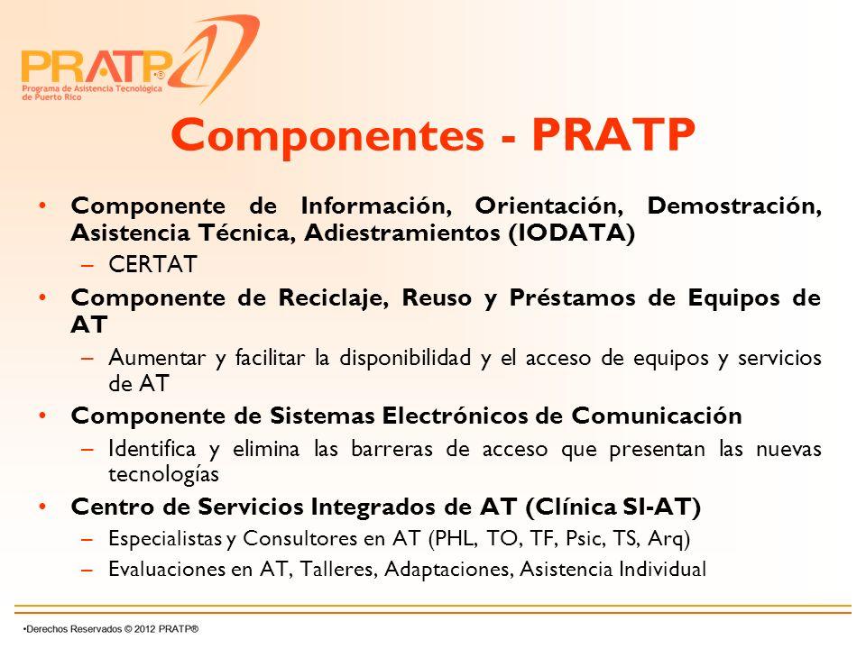 ® Componentes - PRATP Componente de Información, Orientación, Demostración, Asistencia Técnica, Adiestramientos (IODATA) –CERTAT Componente de Recicla