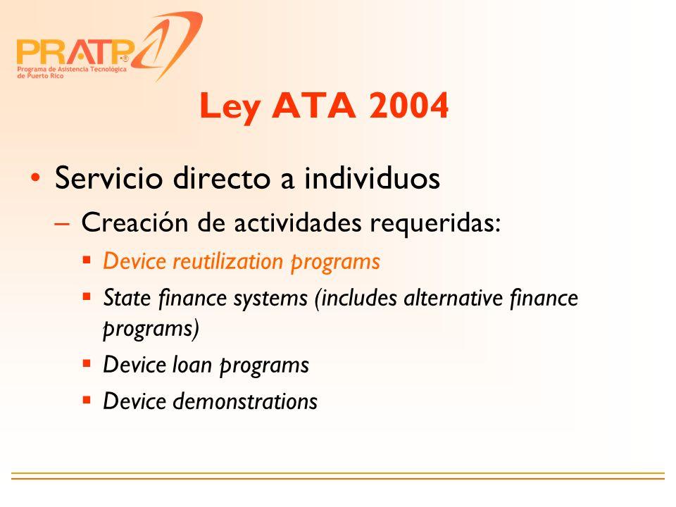 ® Ley ATA 2004 Servicio directo a individuos –Creación de actividades requeridas: Device reutilization programs State finance systems (includes altern
