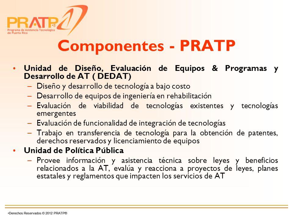 ® Componentes - PRATP Unidad de Diseño, Evaluación de Equipos & Programas y Desarrollo de AT ( DEDAT) –Diseño y desarrollo de tecnología a bajo costo