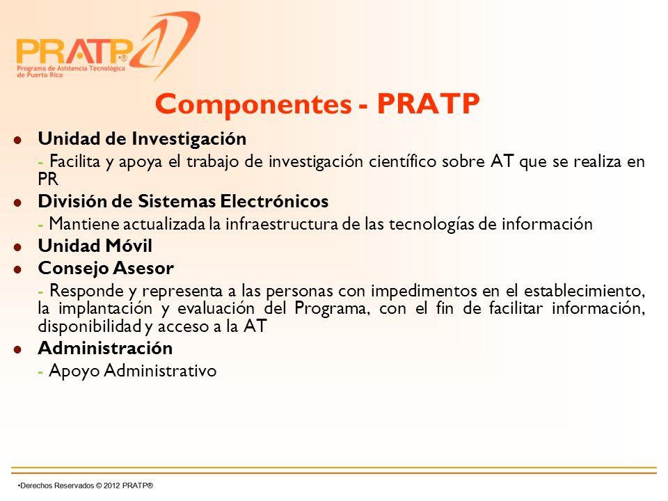 ® Componentes - PRATP Unidad de Investigación - Facilita y apoya el trabajo de investigación científico sobre AT que se realiza en PR División de Sist