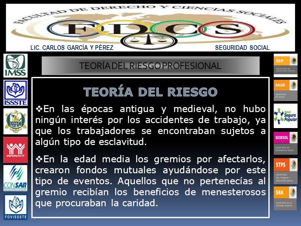 LIC. CARLOS GARCÍA Y PÉREZ SEGURIDAD SOCIAL TEORÍA DEL RIESGO PROFESIONAL