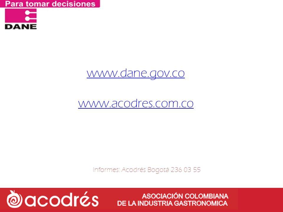 www.dane.gov.co www.acodres.com.co Informes: Acodrés Bogotá 236 03 55