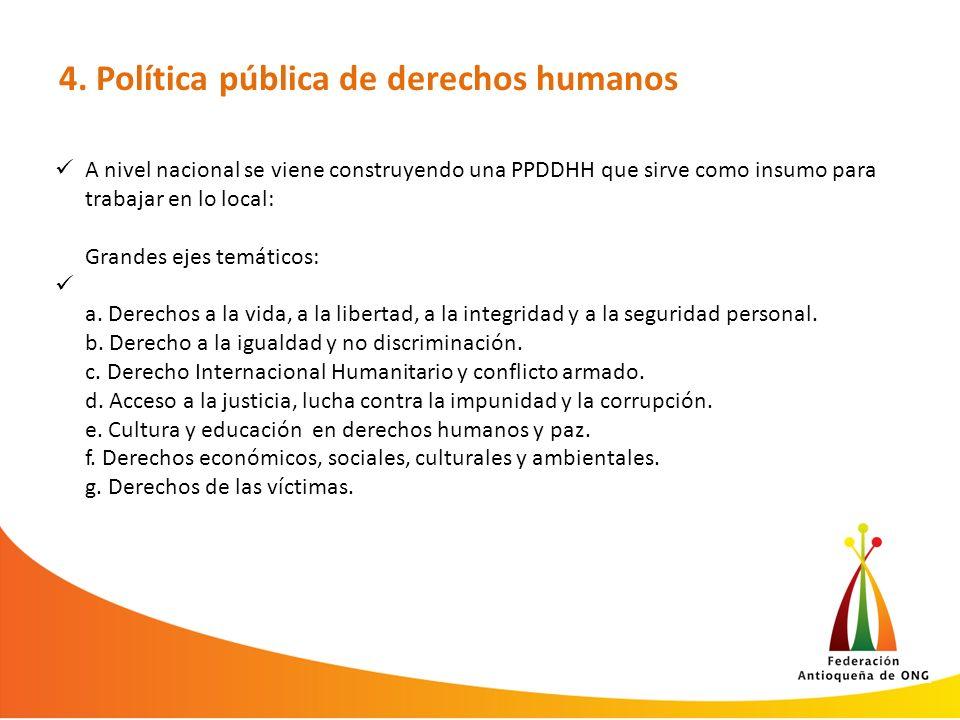 4. Política pública de derechos humanos A nivel nacional se viene construyendo una PPDDHH que sirve como insumo para trabajar en lo local: Grandes eje