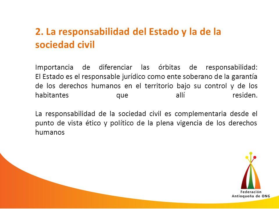 2. La responsabilidad del Estado y la de la sociedad civil Importancia de diferenciar las órbitas de responsabilidad: El Estado es el responsable jurí