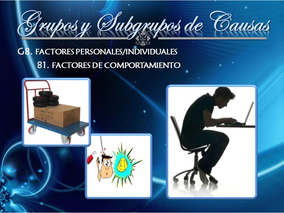 G8. FACTORES PERSONALES/INDIVIDUALES 81. FACTORES DE COMPORTAMIENTO