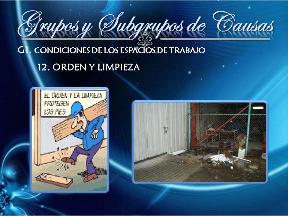 G1. CONDICIONES DE LOS ESPACIOS DE TRABAJO 12. ORDEN Y LIMPIEZA