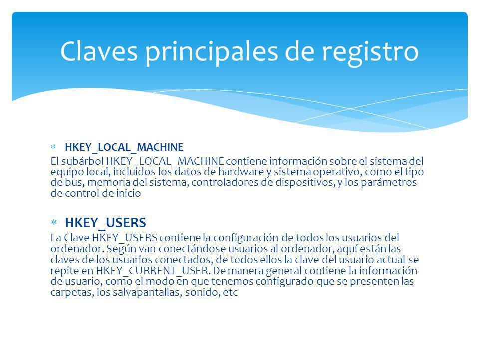 HKEY_LOCAL_MACHINE El subárbol HKEY_LOCAL_MACHINE contiene información sobre el sistema del equipo local, incluidos los datos de hardware y sistema op