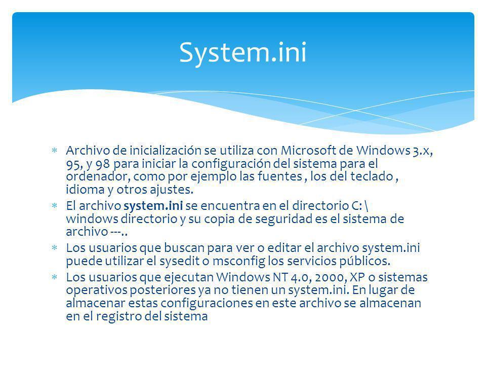 Archivo de inicialización se utiliza con Microsoft de Windows 3.x, 95, y 98 para iniciar la configuración del sistema para el ordenador, como por ejem
