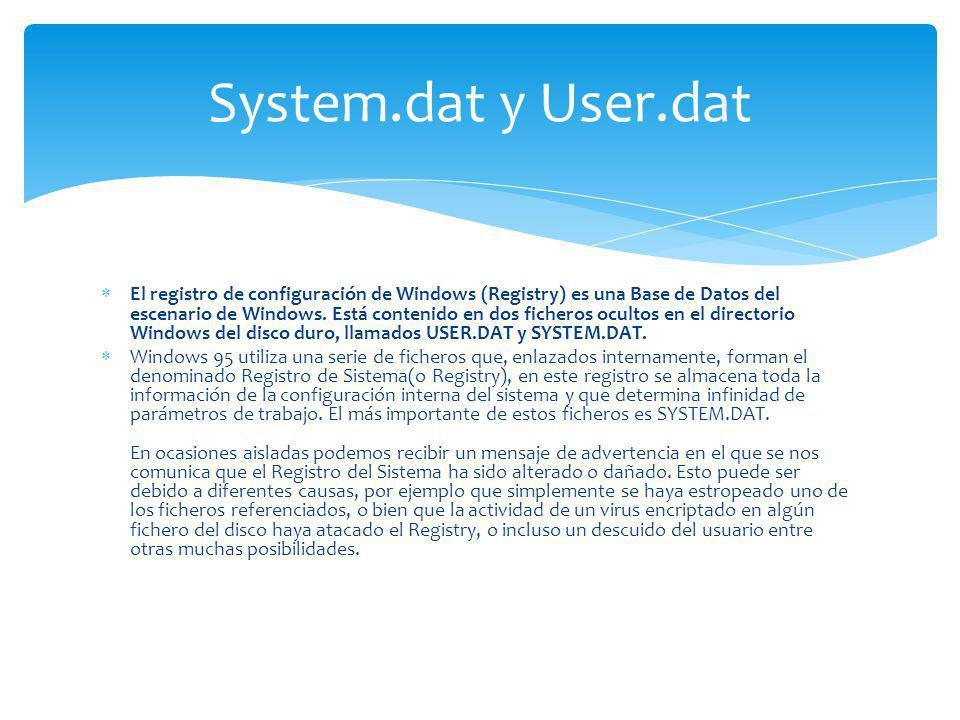 El registro de configuración de Windows (Registry) es una Base de Datos del escenario de Windows. Está contenido en dos ficheros ocultos en el directo
